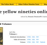 Screenshot of the homepage of the Yellow Nineties Online.
