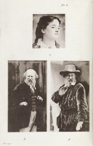 Three images of facial expressions of disdain and disgust from Darwin's Expression of Emotions.