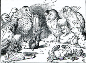 The dormouse speaks to Alice, the birds and a crab