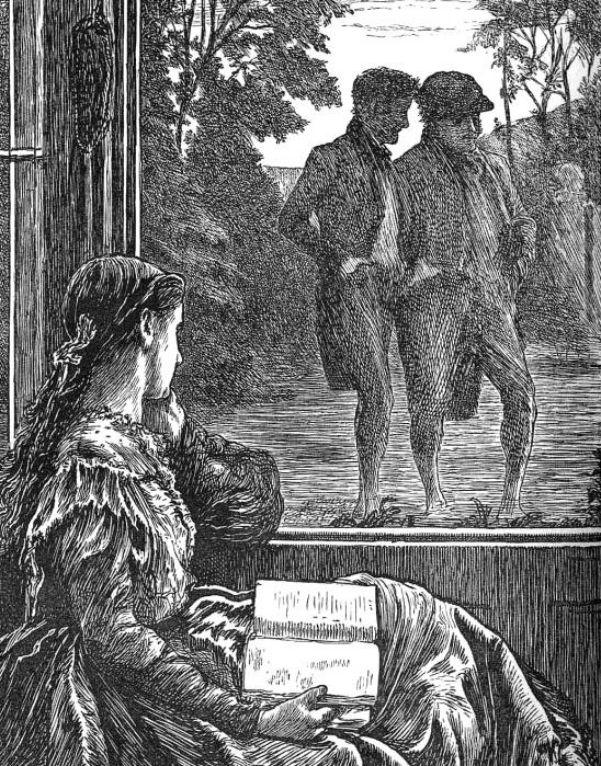 A woman looks through a window at two men.
