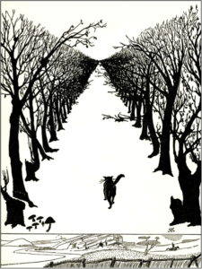 a cat walks through a grove of trees in this black and white illustration